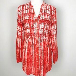 Maeve Anthropologie Orange white tunic blouse 8